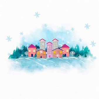 水彩のクリスマスタウンの背景