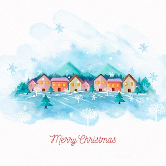 水彩クリスマスの町の壁紙