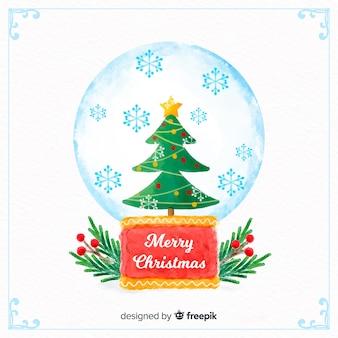 Акварельная рождественская елка земного шара