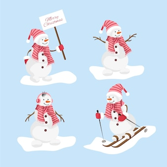 手描き雪だるまキャラクターコレクション