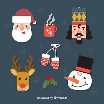 フラットなデザインのクリスマス要素パック