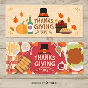 Плоский дизайн коллекции баннеров благодарения