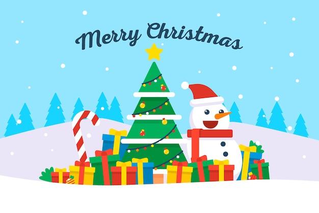 Рождественский фон в плоском дизайне