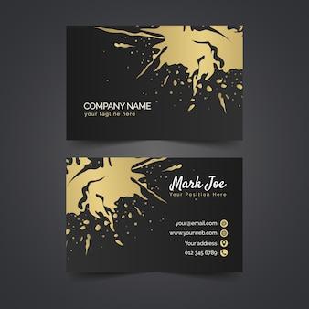 Золотые пятна шаблон визитной карточки