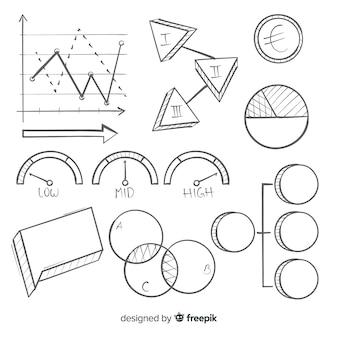 手描きのインフォグラフィック要素セット