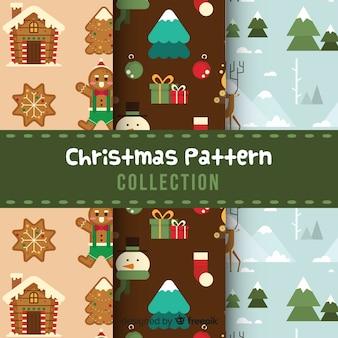 Коллекция рождественских узоров в плоском дизайне