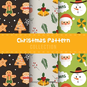 フラットなデザインのクリスマスパターンのコレクション
