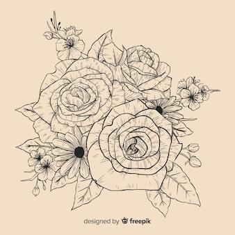 現実的なヴィンテージ手描き花の花束