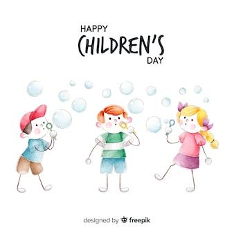 水彩で子供の日の概念