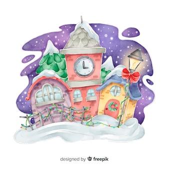Рождественский городок в акварели