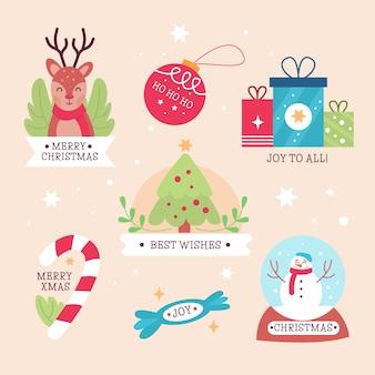 Плоский дизайн рождественская коллекция этикеток