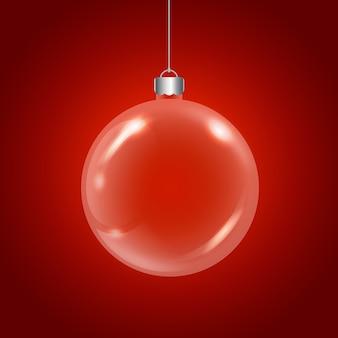 Красный хрустальный елочный шар