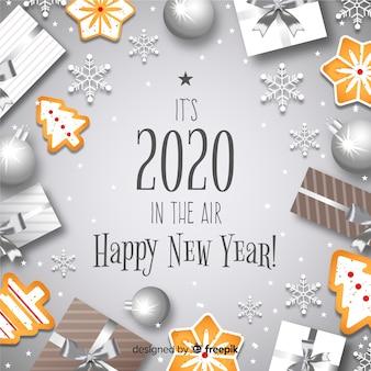 銀色の背景を持つ新年コンセプト