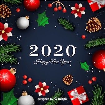 Новый год концепция с реалистичным фоном
