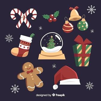 フラットクリスマス要素コレクション