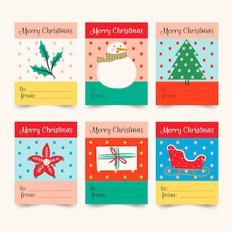Рисованной рождественская коллекция этикеток