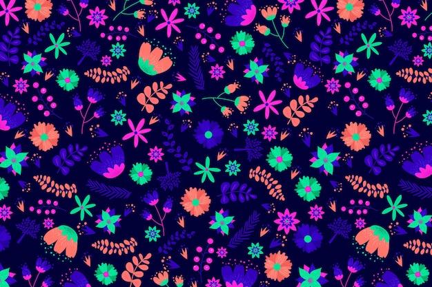 明るくカラフルな花を持つ頭が変な花柄
