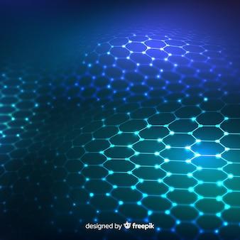 グラデーションブルーの背景で未来的な六角形ネット
