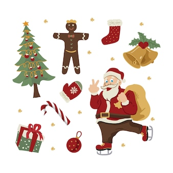 Санта-клаус и рождественские элементы рисованной