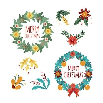 クリスマスに描かれたフローラルリース手