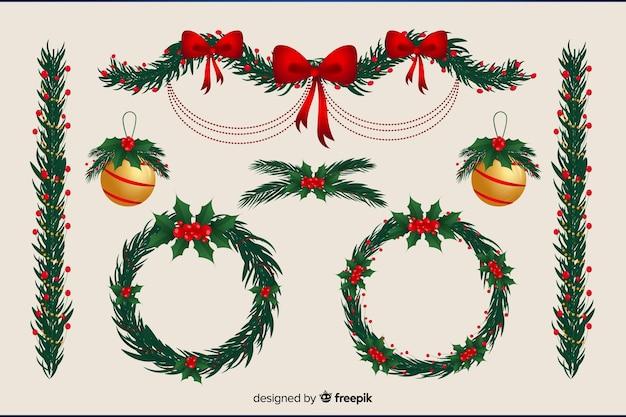 フローラルリースとクリスマスボールのフラットなデザイン