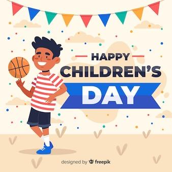少年とフラットなデザインの子供の日の背景
