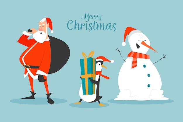 Плоский дизайн рождественские персонажи набор