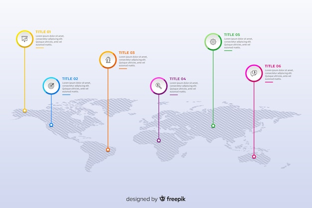 フラットなデザインの世界地図インフォグラフィックテンプレート