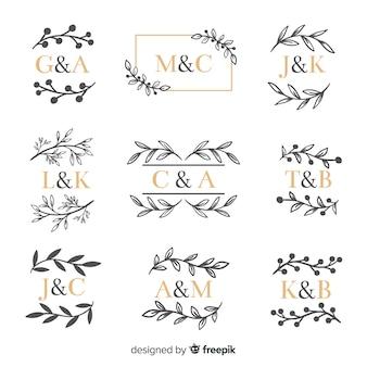 Коллекция декоративных свадебных вензелей