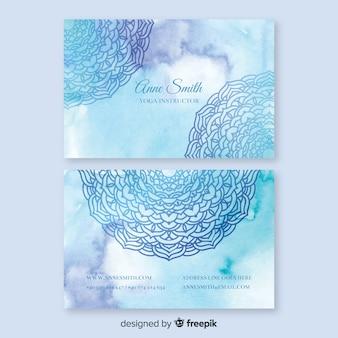 Шаблон визитной карточки акварель синий мандалы