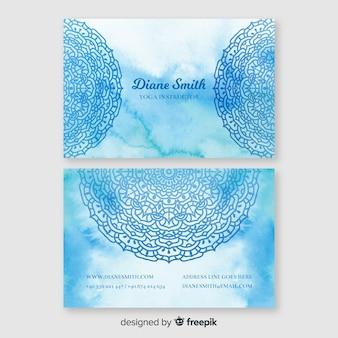 Шаблон синий акварель визитной карточки