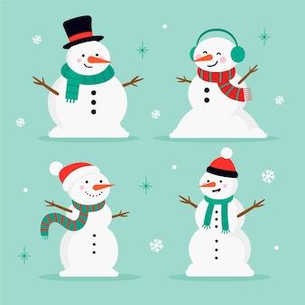 フラットなデザインの雪だるまキャラクターセット