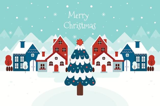 フラットなデザインの背景クリスマスタウン