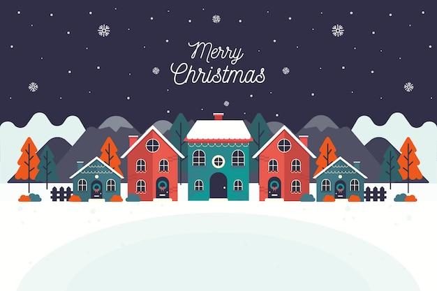 Плоский дизайн рождественский город фон