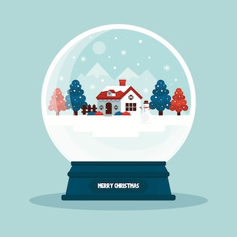 Плоский дизайн обоев рождество снежный шар
