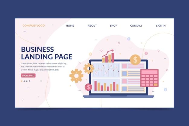 Бизнес целевая страница с ноутбуком