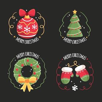 Коллекция рисованной рождественской этикетки