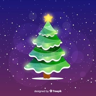 星と抽象的なデザインのクリスマスツリー