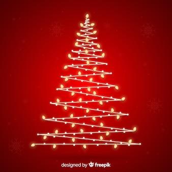 ライトと抽象的なデザインのクリスマスツリー