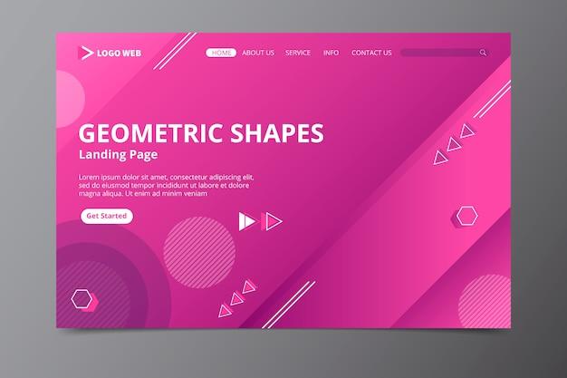 ピンクの最小限の幾何学的なランディングページ