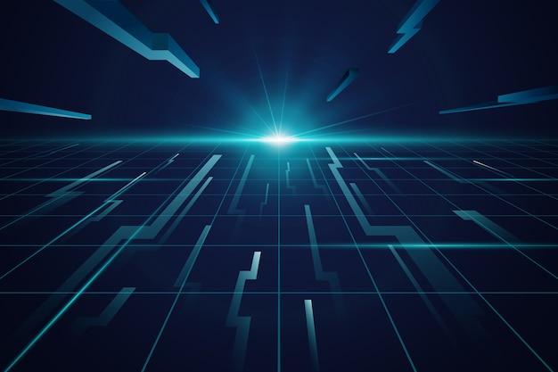 未来の地平線の青い背景
