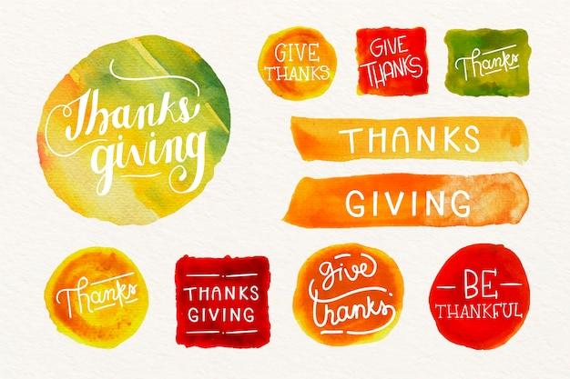 Акварельная коллекция значков благодарения