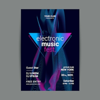 Шаблон плаката абстрактной волны звука музыки