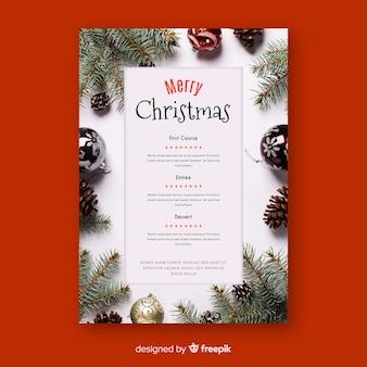 写真付きのクリスマスメニューテンプレート