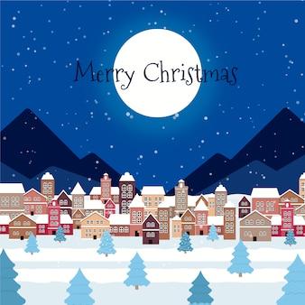 Плоский рождественский городок с приветствием