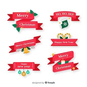 Рождественская коллекция лент с плоским дизайном