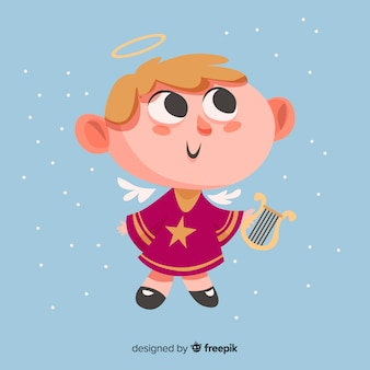 Милый рождественский ангел с плоским дизайном