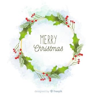 Акварельное рождественское украшение с венком