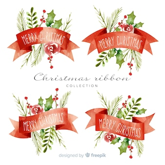 水彩クリスマスリボンコレクション