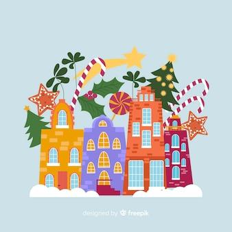 Плоский рождественский городок со зданиями